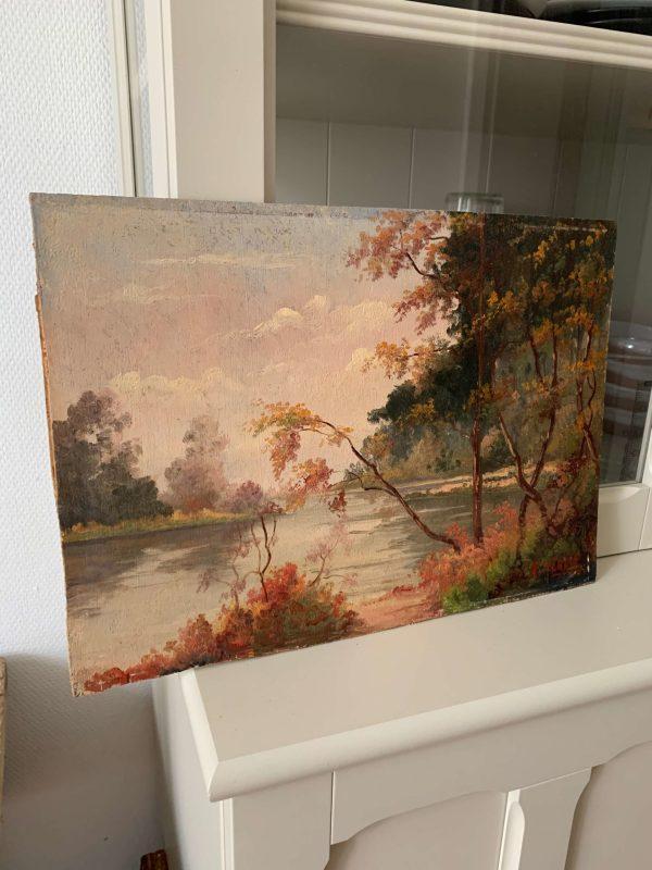 ancienne peinture à l'huile tableau de paysage automnale debut xxeme