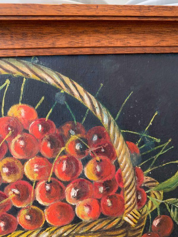 ancienne peinture à l'huile cerises et kir cerise de 1927