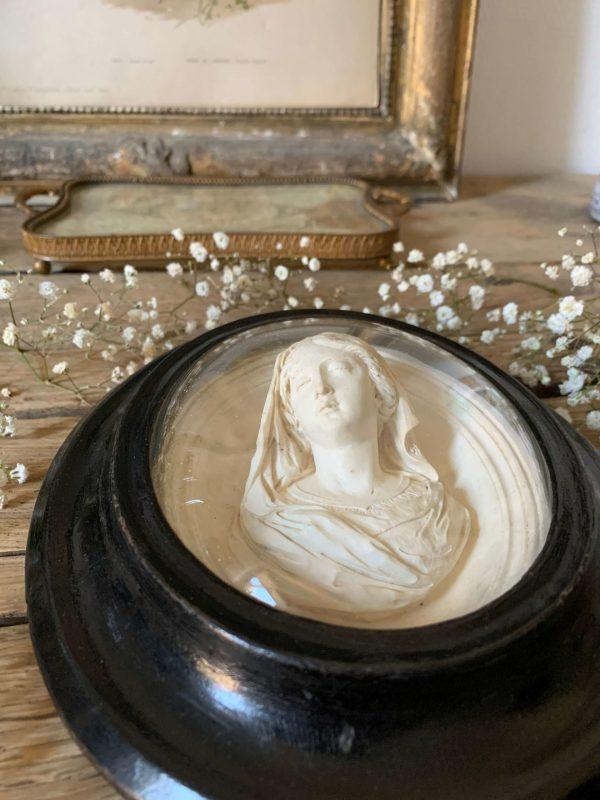 ancienne vierge reliquaire calcaire pétrifié xixeme