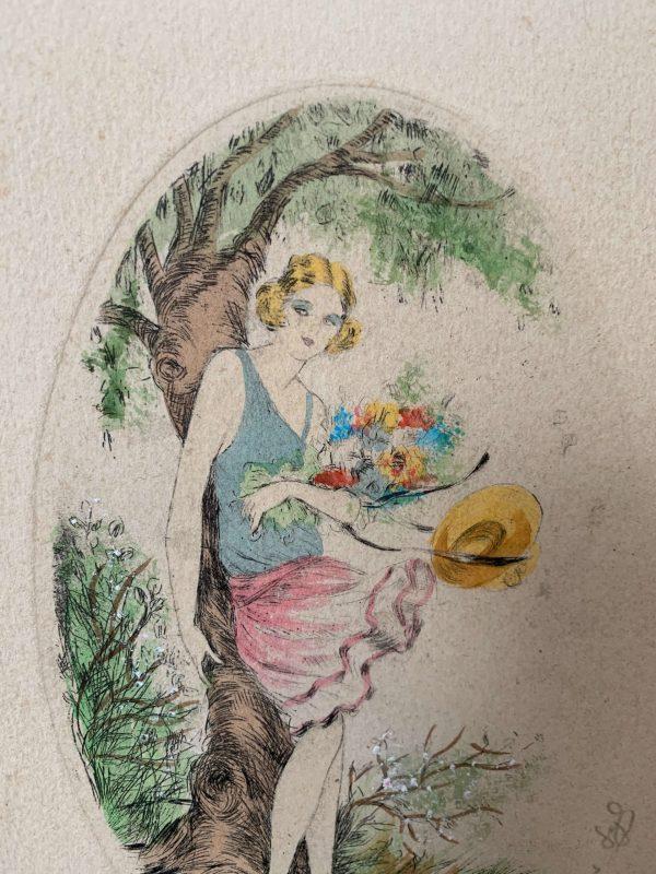ancienne gravure de femme art déco syl le printemps