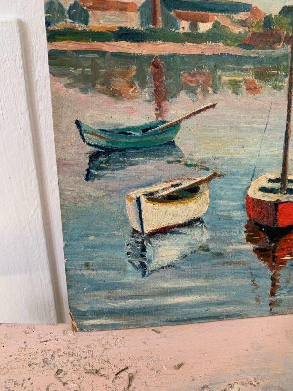 ancienne peinture à l'huile biord du scorff bretagne