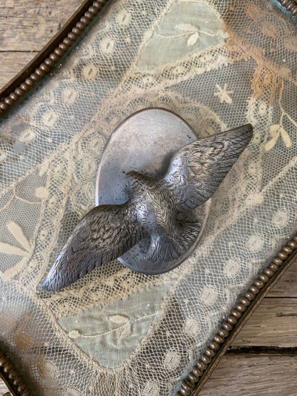 ancien porte rameau colombe en métal argenté