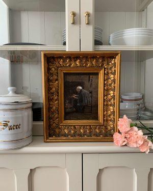 ancienne peinture à l'huile scène d'intérieur grand mère cheminée vers 1900
