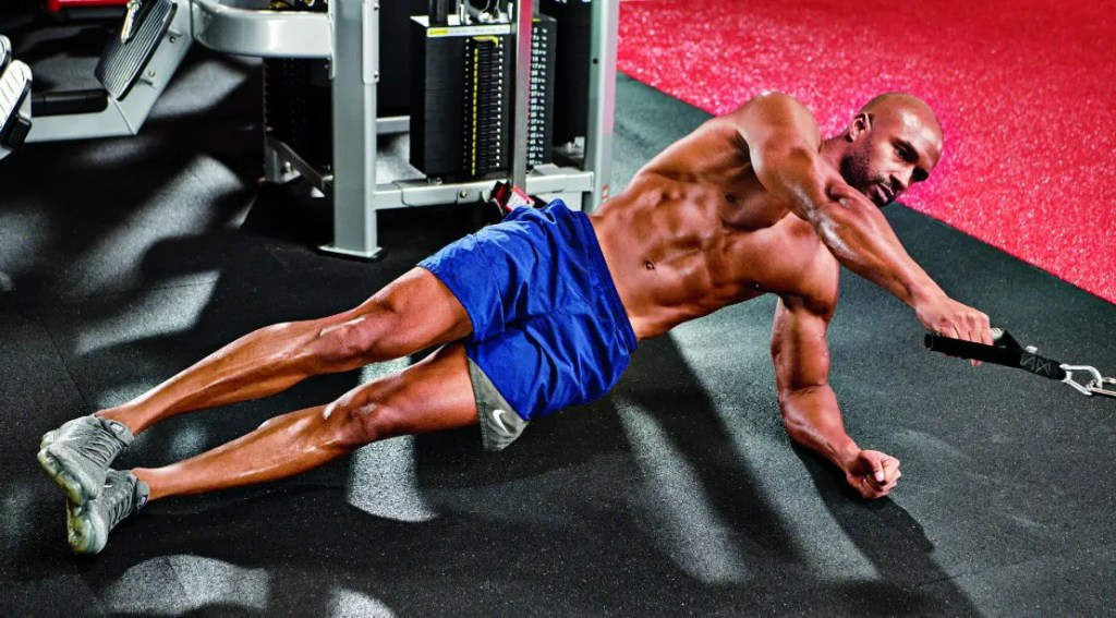 Side Plank With Cable Rows