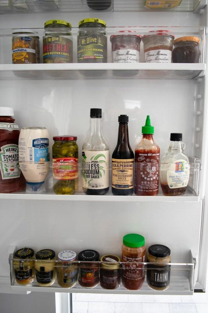 A clean and organized fridge door