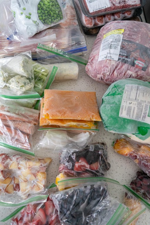 Freezer items on the countertop while spring cleaning your freezer