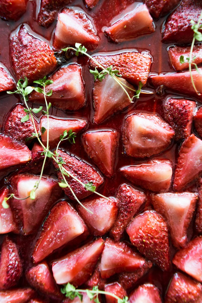 Roasted strawberries with thyme