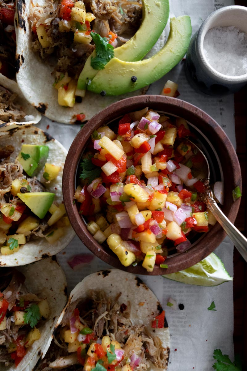 Close up of pineapple salsa for tacos