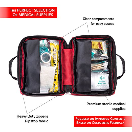 First Aid Kit for Car, Travel, Home, Office, Sports, Survival   Complete Emergency Bag fully stocked with high quality medical supplies