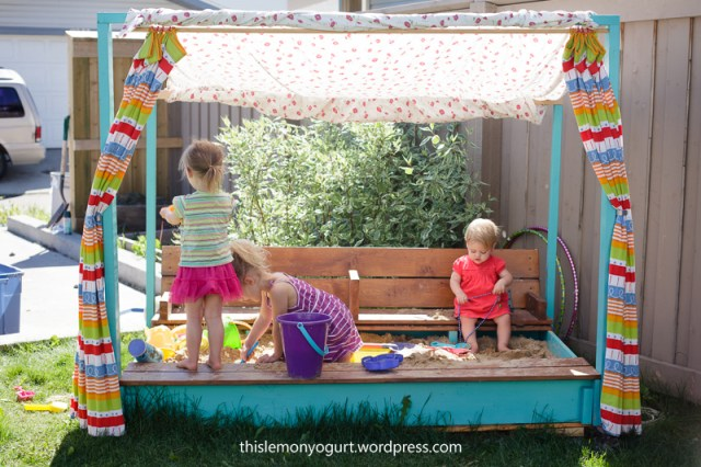Sandbox, stage, and puppet theatre all-in-one {this lemon yogurt}