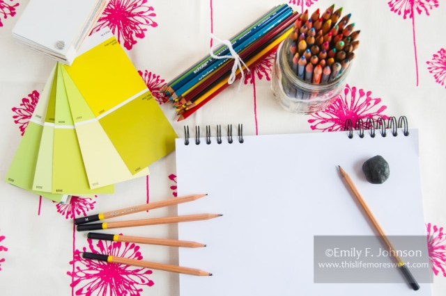 Artist's desk, pencils, colors, etc...