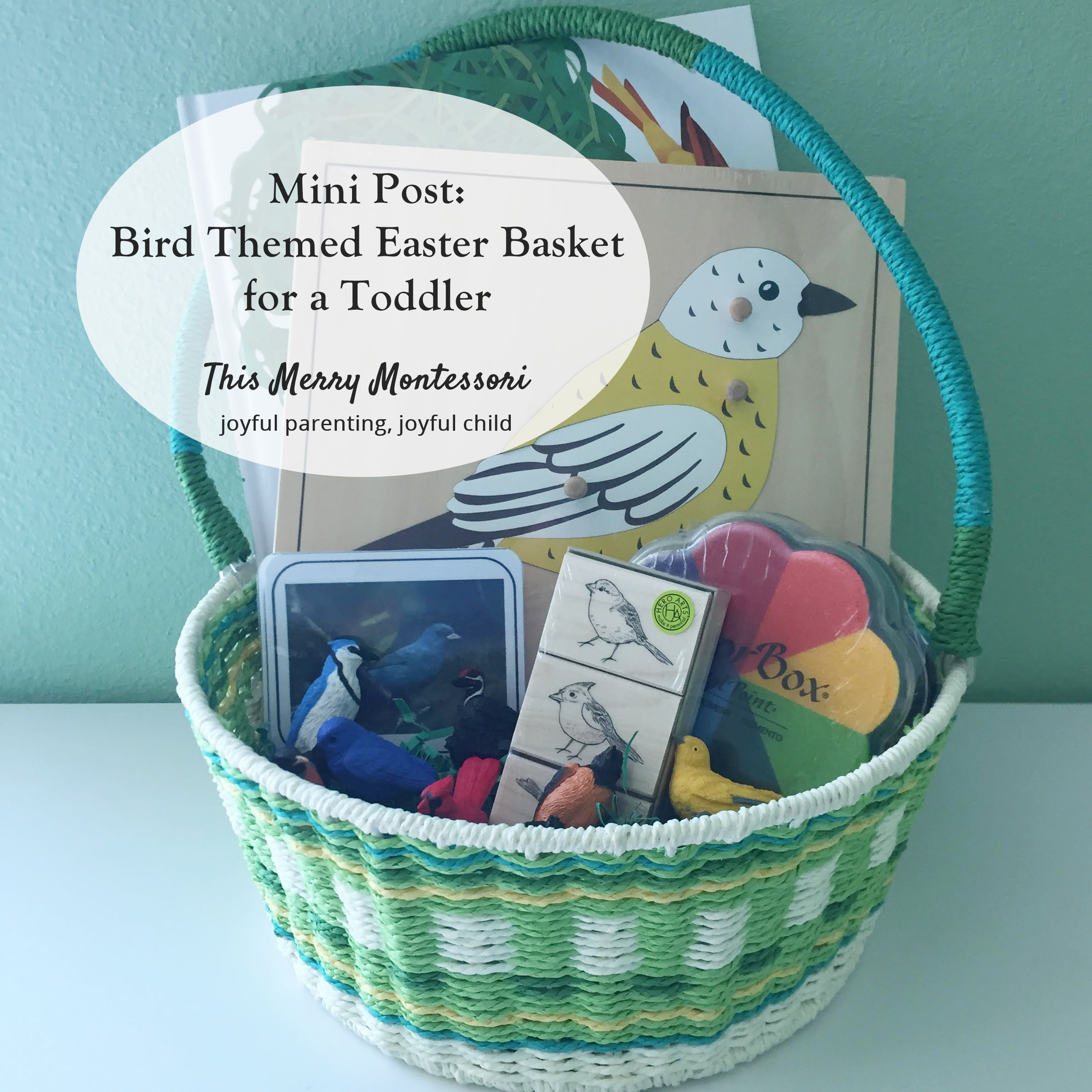 Mini post bird themed easter basket for a toddler this merry elis been my little bird man since he was 8 months old and when thinking about putting his easter basket together the natural connection to birds eggs negle Choice Image