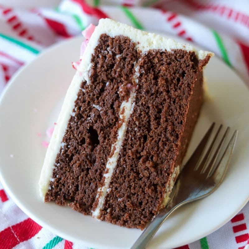 A slice of keto chocolate cake on a white plate