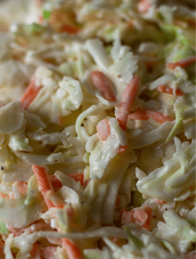 Close up shot of low carb coleslaw