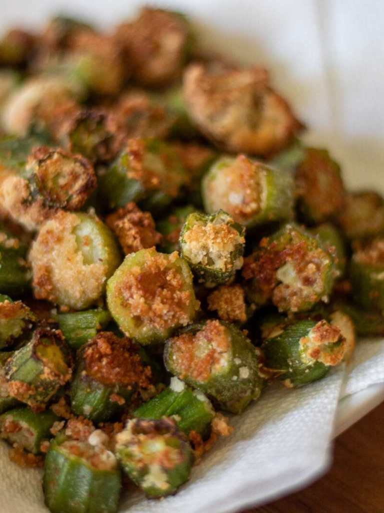 Low carb fried okra on a white plate