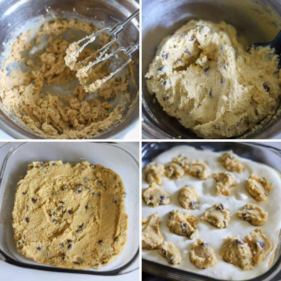 a four photo collage showing the steps for making keto chocolate chip cookie cheesecake bars.