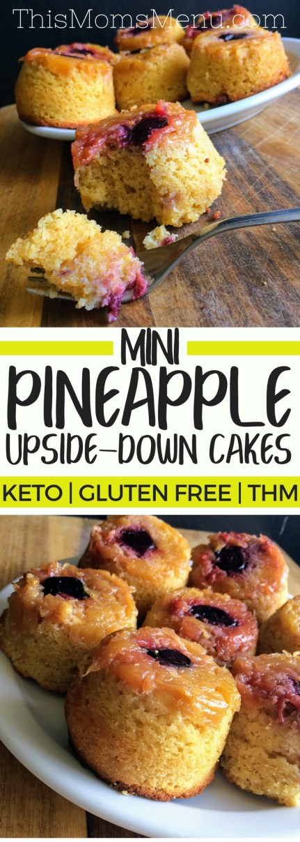 If you close your eyes while eating these Pineapple Upside Down Cupcakes, you might just begin to hear the sweet sounds of a ukulele playing in the background. Something about the flavor of sweet pineapple and cherries, makes me feel like I am sitting on a tropical beach somewhere, completely care free. It's like a vacation all wrapped up in one little cake. #keto #ketodessert #lowcarb #glutenFree