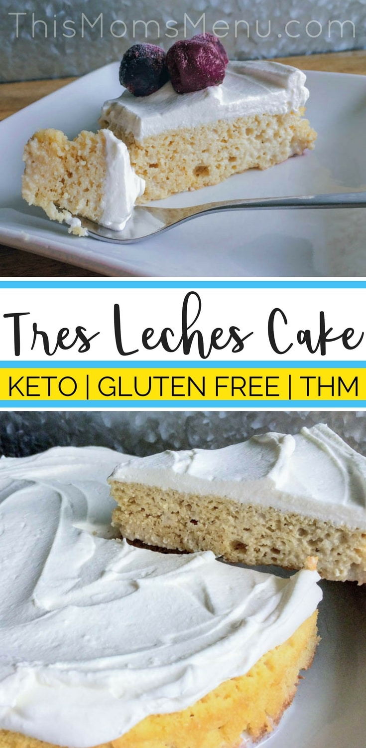 This low carb take on a traditional Tres Leches Cake is a real show stopper! A simple spongecake soaked in sweetened milk and topped with homemade whipped cream is sure to please everyone. Serve it topped with fresh berries, a dusting of cinnamon - or my favorite, frozen cherries! #keto #ketorecipes #lowcarb #glutenfree #ketodessert #tresleches