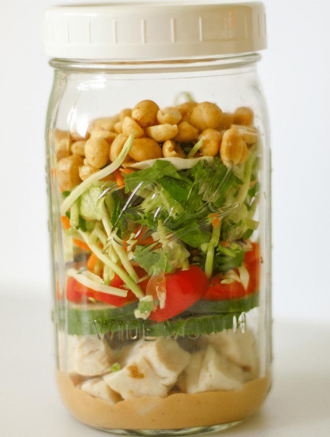 Thai Peanut Chicken Mason Jar Salad   Keto