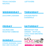 This Mom's Menu for the Week of September 17th