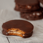 Homemade keto moonpie with a layer of marshmallow sandwiched between two graham crackers and topped with chocolate