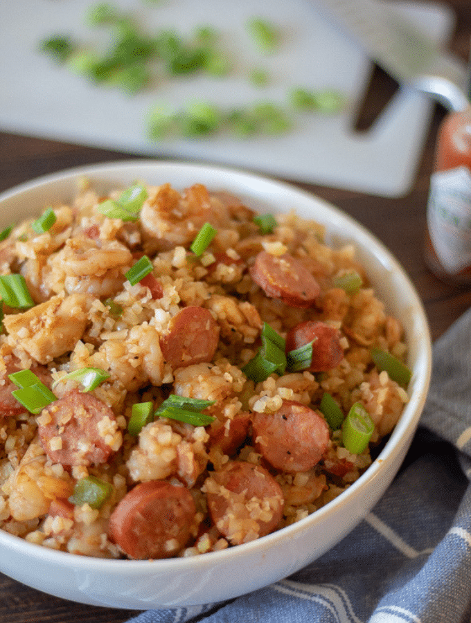 Low Carb Jambalaya in a large white bowl