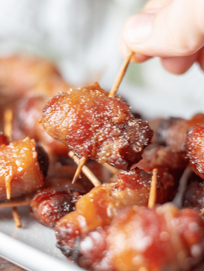 Bacon and Brown Sugar Little Smokies from the air fryer piled on a white plate