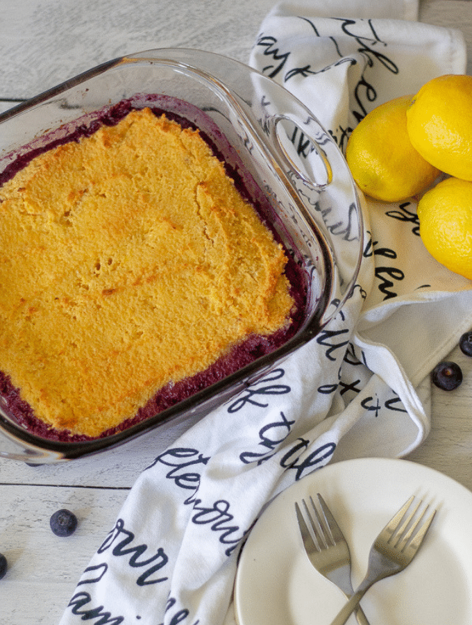 Overhead image of a keto upside down lemon blueberry cake