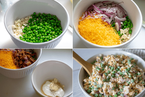 A photo collage showing the steps to make this low carb salad