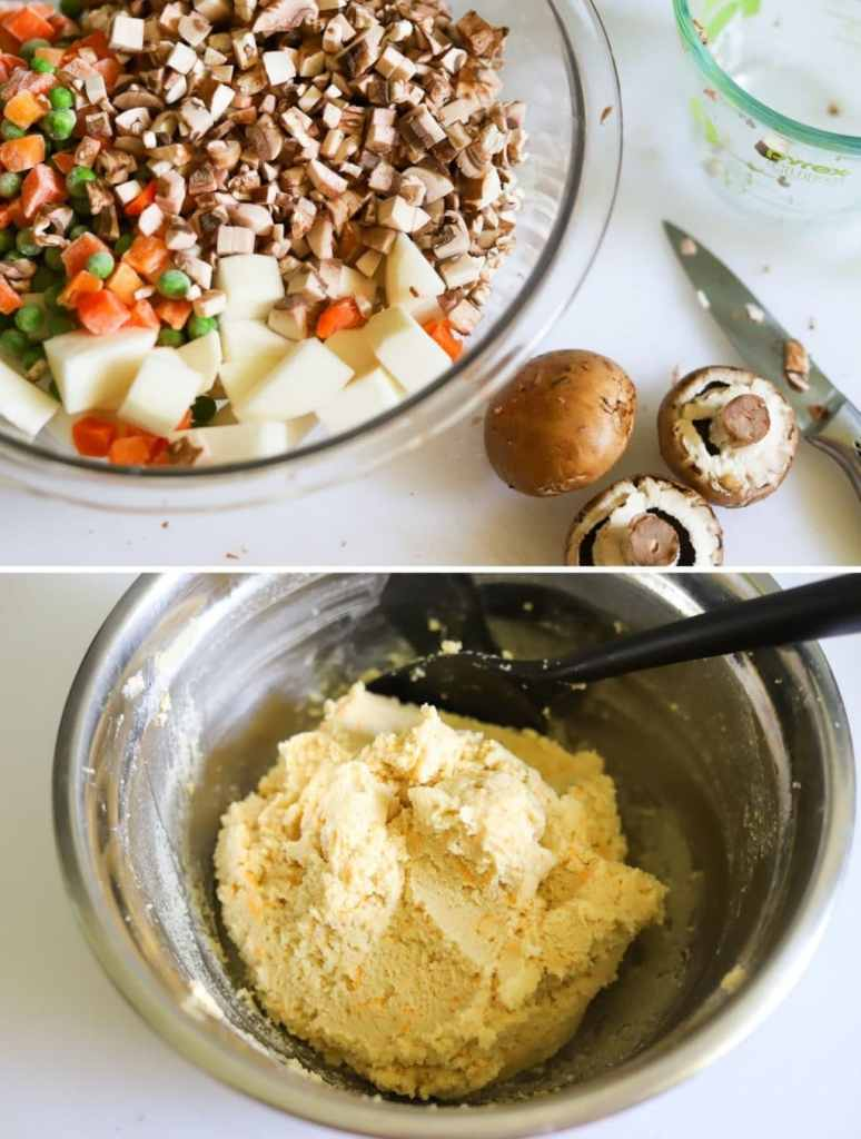 a 2 photo collage with one picture is a bowl full of diced turnips and mushrooms, peas and carrots, and the second picture is keto pie dough.