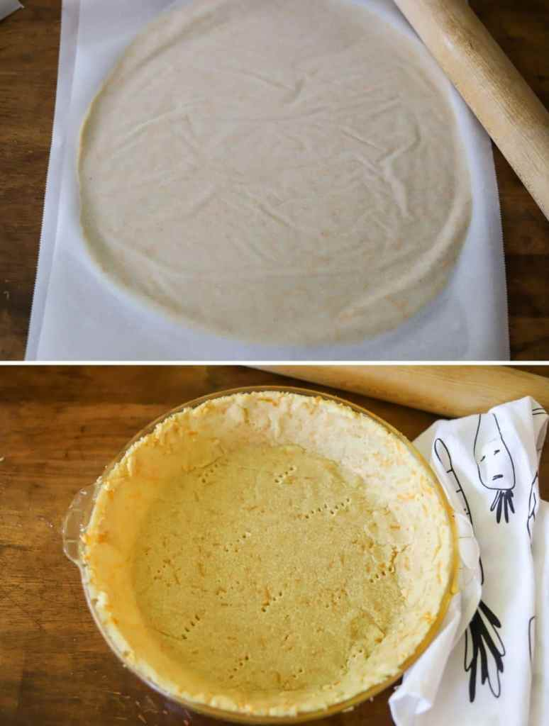 a two image collage showing the steps for making a keto pie crust.