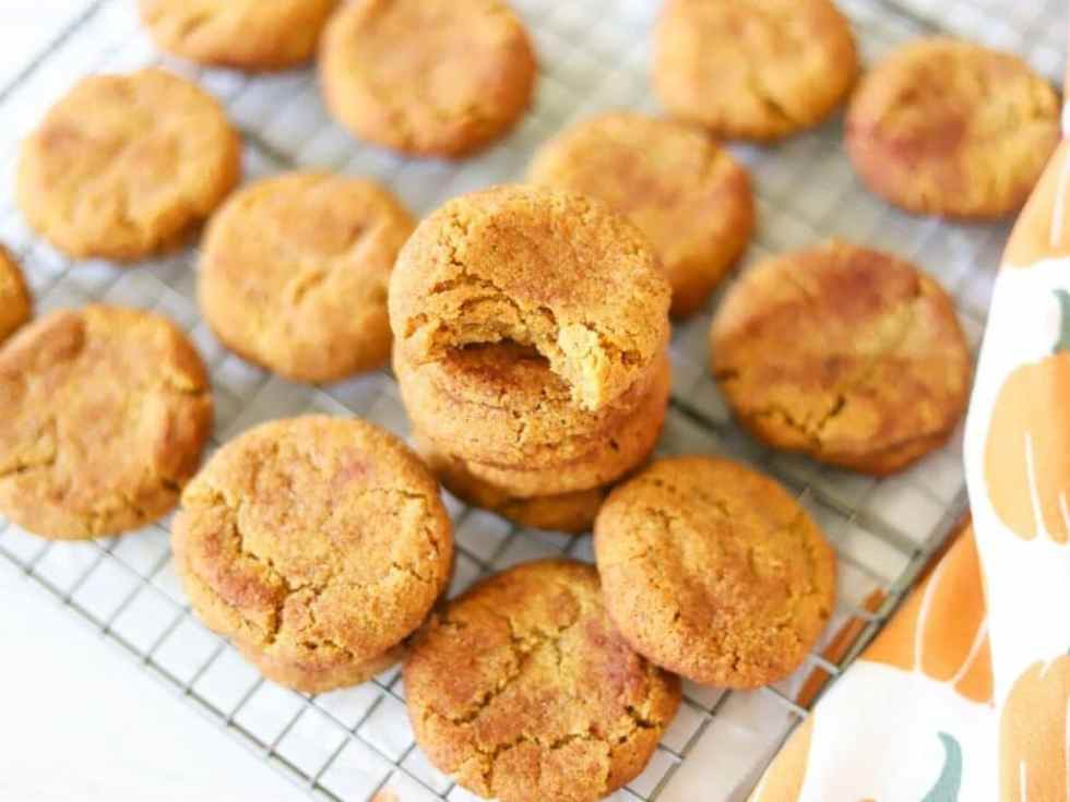 low carb pumpkin cookies cooling on a cooling rack