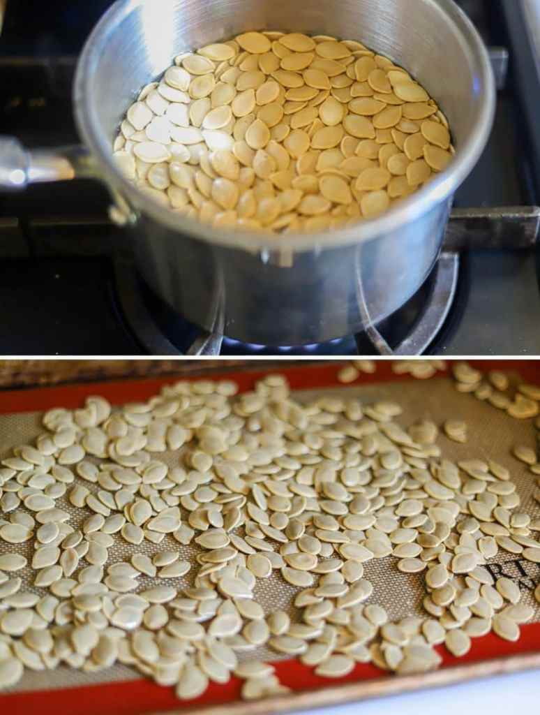 a two photo collage showing the steps for boiling pumpkin seeds