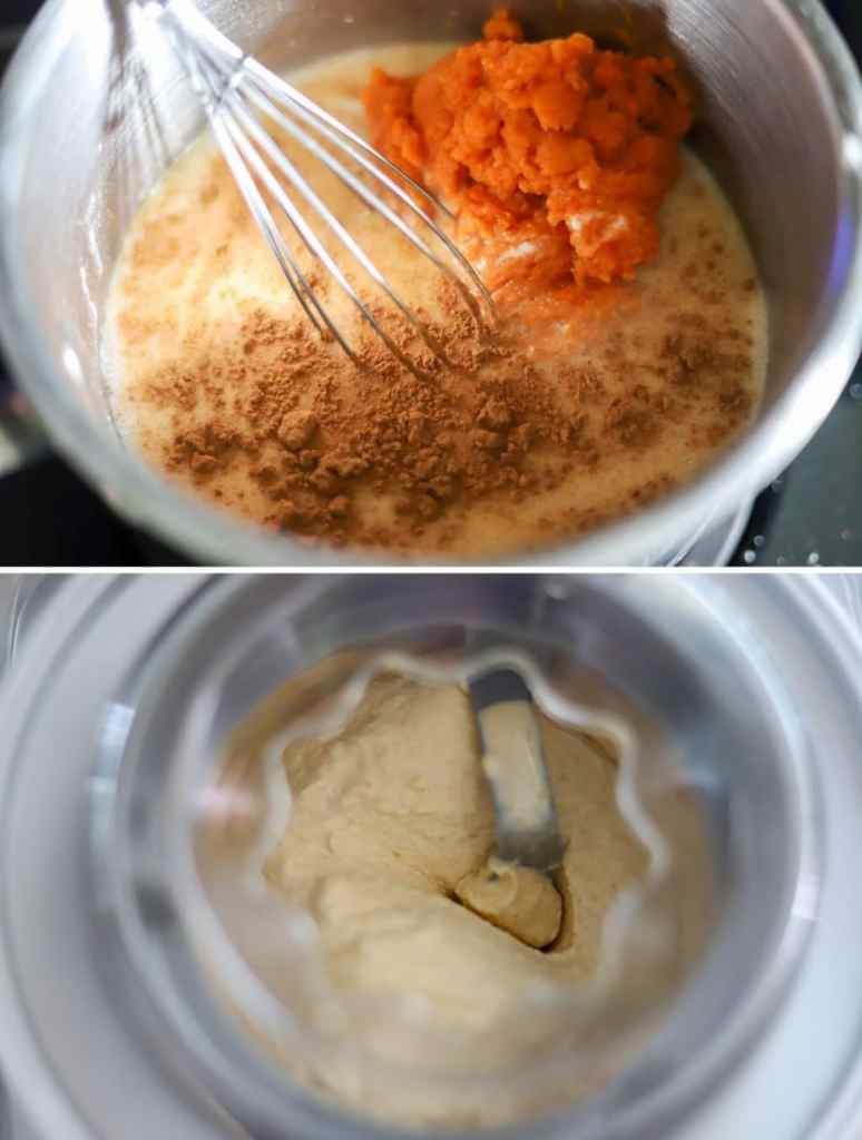 A 2 photo collage showing the process for making homemade pumpkin ice cream