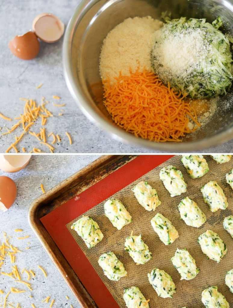 a 2 image collage showing the last few steps for making homemade zucchini tots