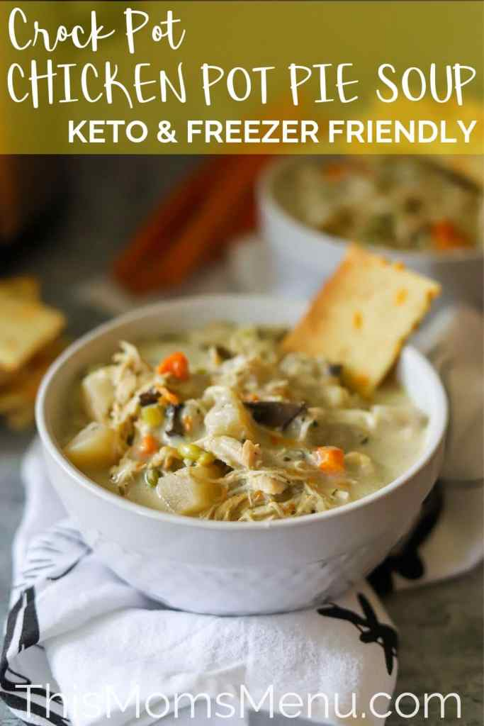 Keto chicken pot pie soup pinterest image