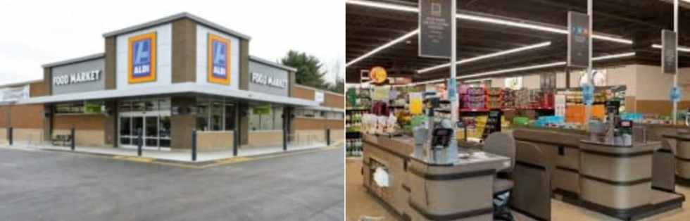 A photo collage showing the interior and exterior of an Aldi store