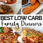 four image collage of keto family dinners with text overlay