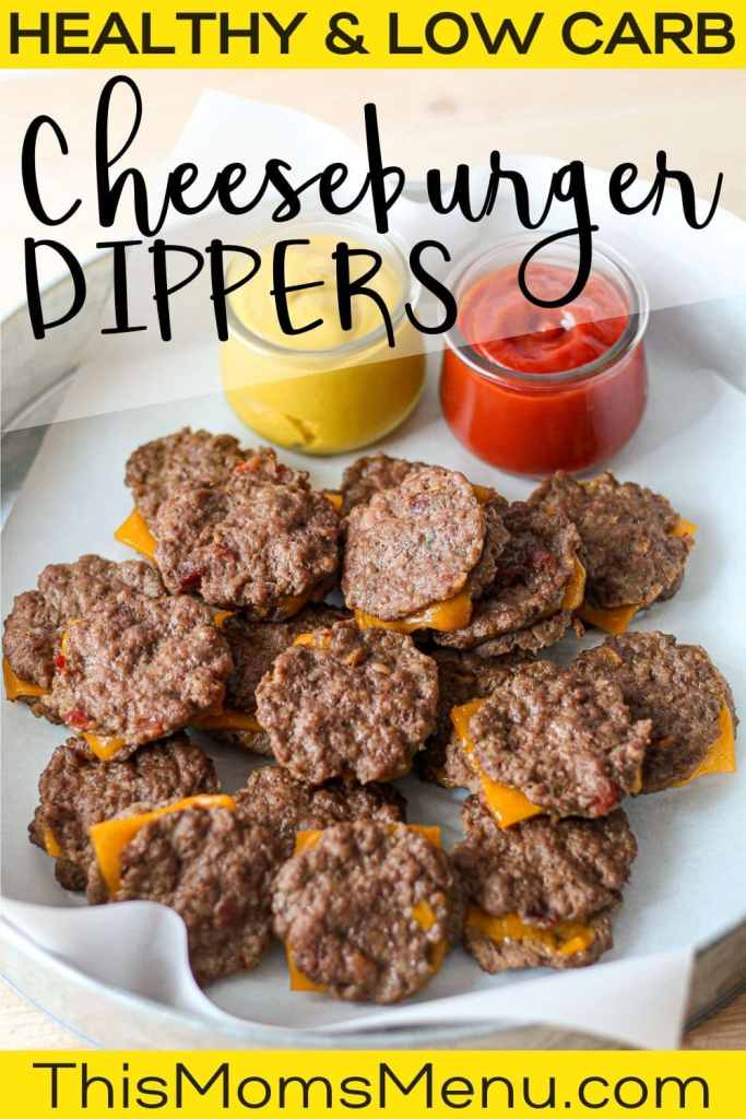 Bacon Cheeseburger dippers on a platter with dipping sauces off to the side and text overlay