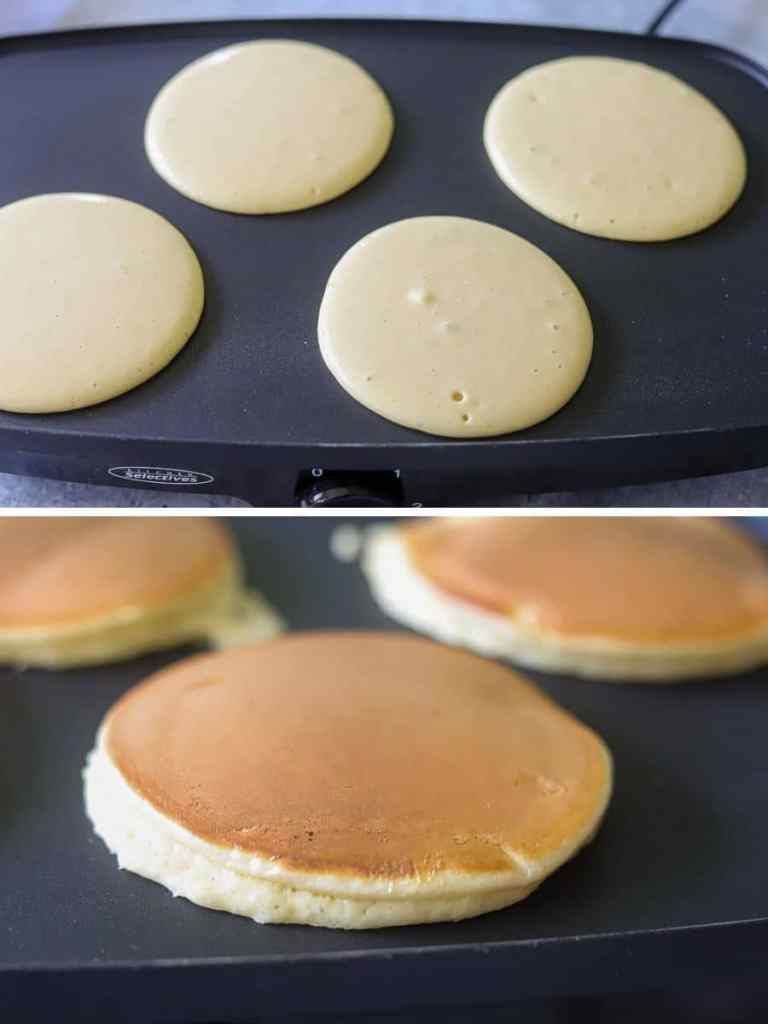 a two  imaage collage showing low carb pancakes being cooked on a griddle