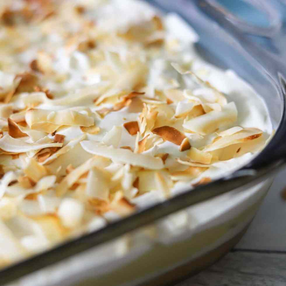 whipped cream topped with toasted coconut