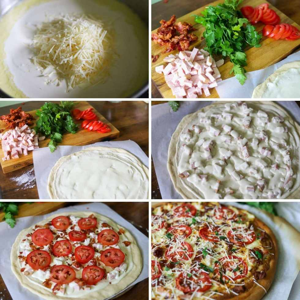 six image collage showing the steps for making hot brown pizza