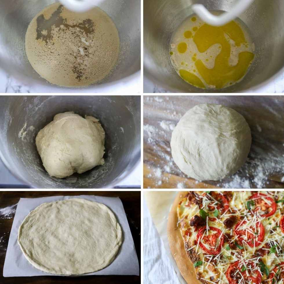 a six image collage showing the steps for making homemade pizza dough
