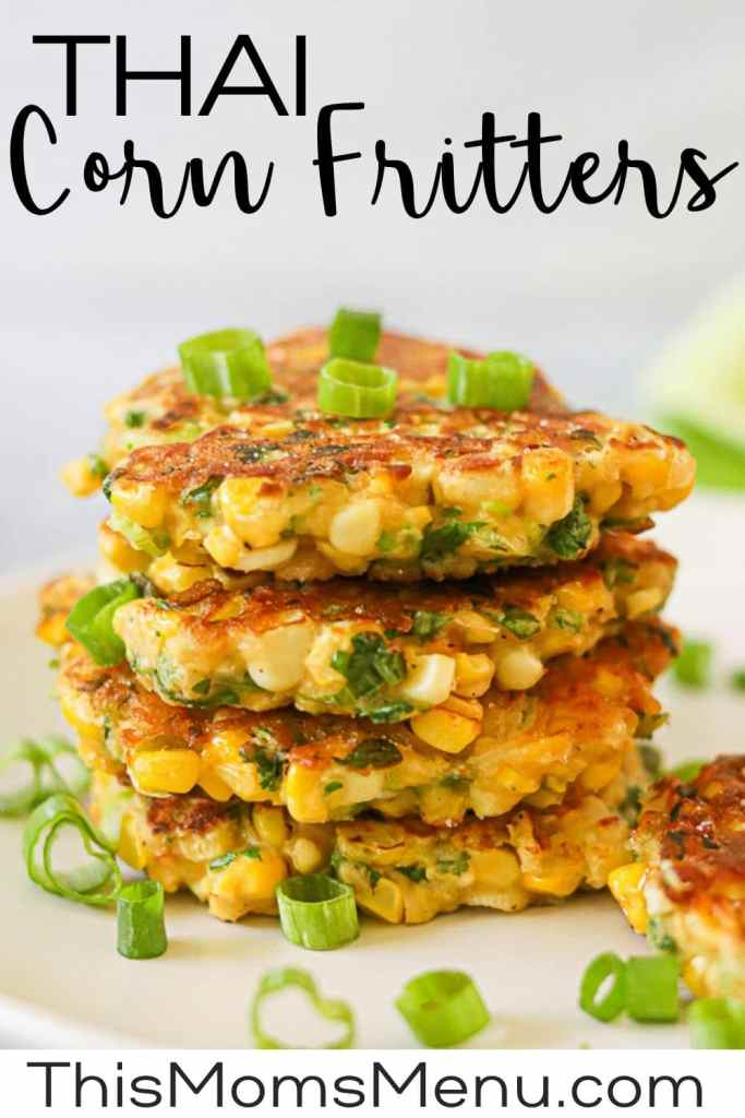 a stack of corn cakes with text overlay