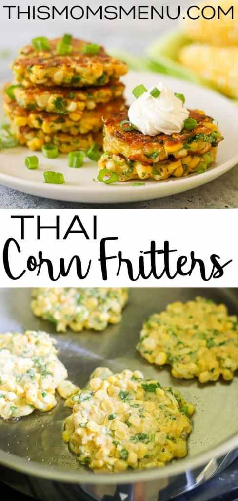 a two image collage showing a stack of cooked corn fritters and some corn fritters being fried in a skillet with text in the center