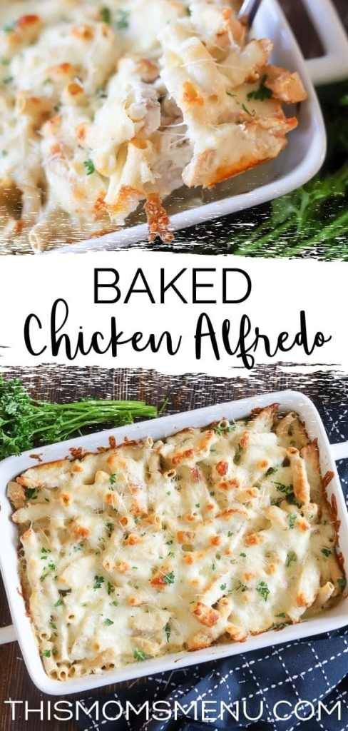 a two image collage showing a close up and a far away shot of a baked chicken Alfredo Casserole