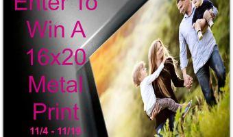 "Enter to win a 16x20"" Metal Frame Print"