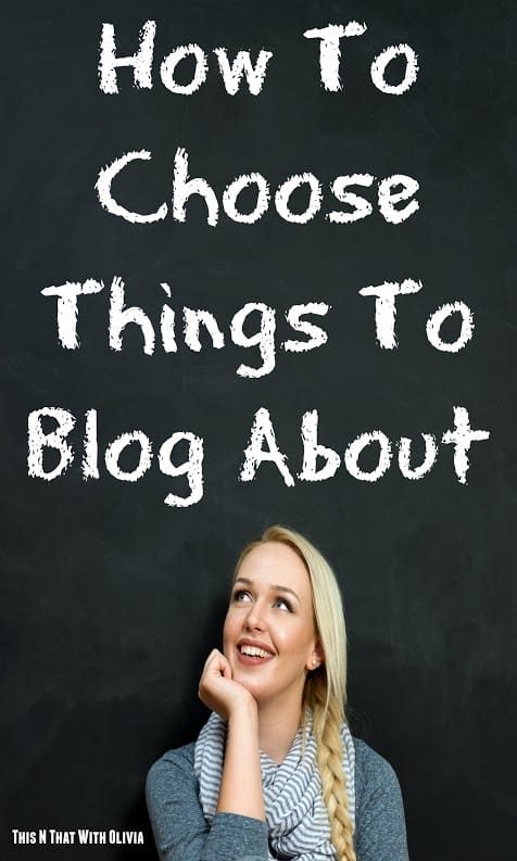 To become a successful blogger, you have to know how to choose things to blog about.  This varies from niche to niche, but the basics are pretty simple and work for any type of blog you may have.  Once you have chosen a niche, a domain name and done all of the fun things like designing your logo and creating social media pages, it's time to get to basics and choose things to blog about.   How To Choose Things To Blog About  Focus on seasons and/or holidays:  One of the best places to choose things to blog comes when you look to the current season and/or holidays.  Seasonal and holiday subjects are always a great way to focus your blog.  Not only are they guaranteed to bring you traffic, they are perfect for those days you have writers block.  Think outside the box and look for those lesser known holidays.  Things like National Chocolate Day or National Talk Like A Pirate Day are both popular and can bring great traffic as well as give you a fun outlet to share some of your favorite things.   Look at your personal passions and favorite subjects.  What do you do for a hobby outside of work and blogging?  What is something that you enjoy learning about?  Use those things to build new blog posts.  Knowing how to choose things to blog about is using the commonplace items in your life to build around.  It can be your favorite books, crafts, or even television shows or movies.    Give your opinion about current affairs.  This can be a tough thing to blog about for some, but fantastic for others.  If you are open to the frustration of having negative comments appear, feel free to reach outside your comfort zone and post about current affairs.  This can be as complicated as the current political situation, foreign relations or the economy. It can also be as simple as the latest celebrity gossip, new hot movie or even upcoming television schedule.   Give helpful tips on topics you understand.  Many people follow blogs to learn more about subjects of interest to them.  That could be learning how to crochet, or even teaching your readers how to set up their own blog or remove viruses from their computer.  There are tons of great tutorials you can give on subjects you are familiar with.  Especially if they are popular subjects that others need more information about.   Write about real life happenings.  Many people use their blog as an online journal of sorts.  They spend time writing about their children, family, faith, work or any subject that is relevant to their daily life.  You can do the same thing.  Share about what is happening in your life, and what you are learning from it.   These tips for how to choose things to blog about are a real life look at what inspires the bulk of most blog posts.  Bloggers everywhere look to their daily life for ideas of what others might enjoy reading about or learning from.  You can use these tips as a guide to building great blog posts on your site.