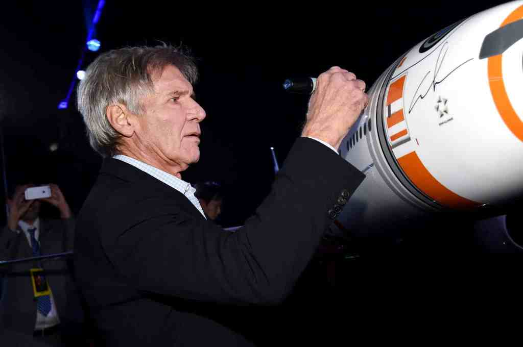 HOLLYWOOD, CA - DECEMBER 14: Actor Harrison Ford attends the World Premiere of ?Star Wars: The Force Awakens? at the Dolby, El Capitan, and TCL Theatres on December 14, 2015 in Hollywood, California. (Photo by Mike Windle/Getty Images for Disney) *** Local Caption *** Harrison Ford