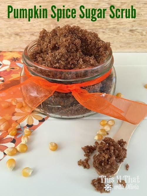 DIY Pumpkin Spice Sugar Scrub #Fall #Pumpkin | ThisNThatwithOlivia.com